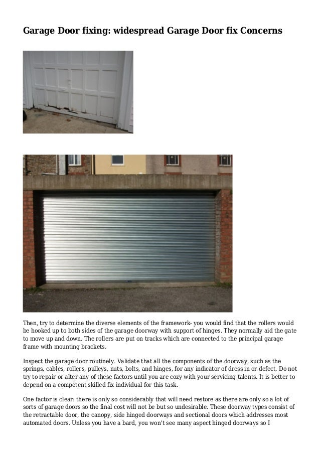 Garage Door Fixing Widespread Garage Door Fix Concerns