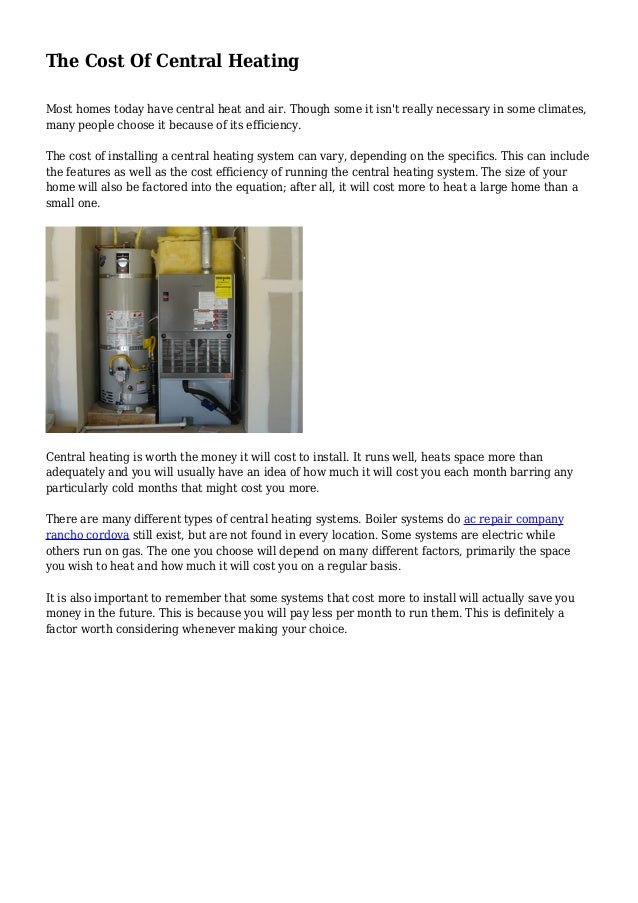 The Cost Of Central Heating
