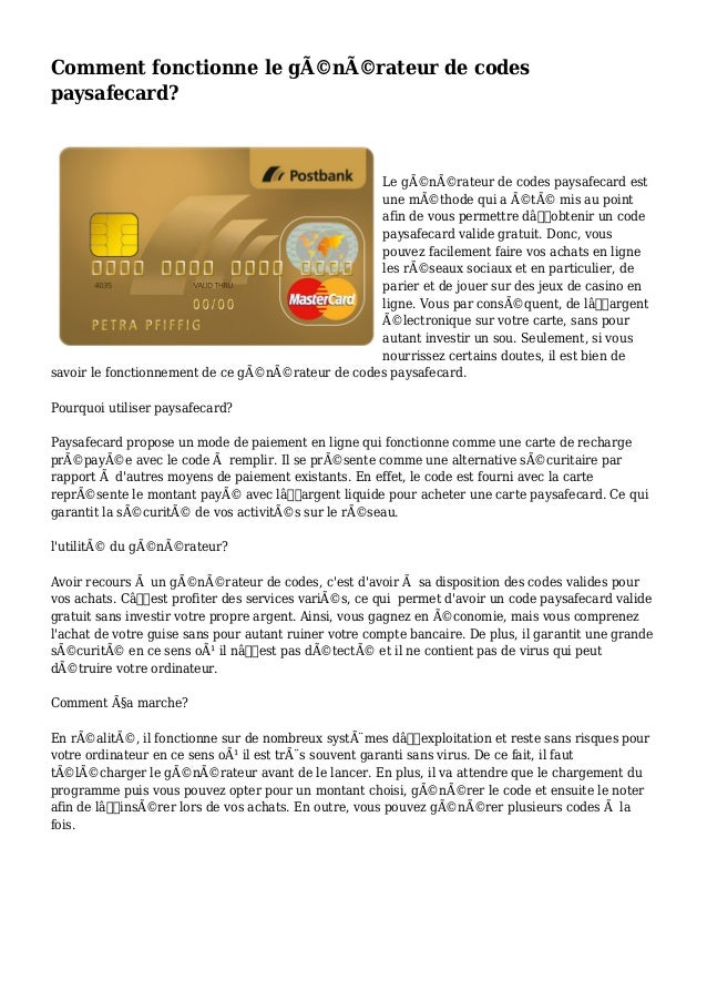 Comment Fonctionne Le Generateur De Codes Paysafecard