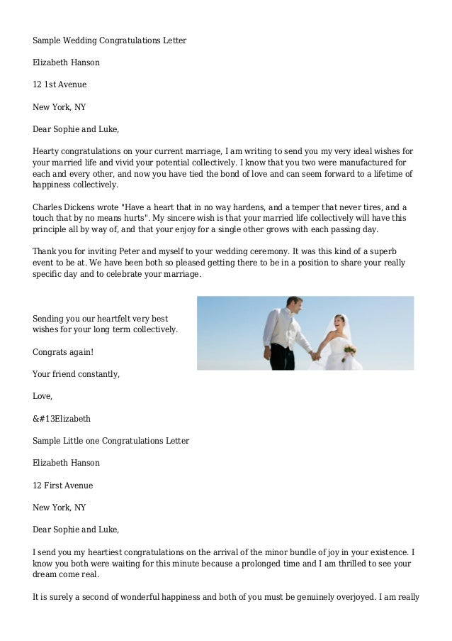 yours sincerely elizabeth 3 sample wedding congratulations letter