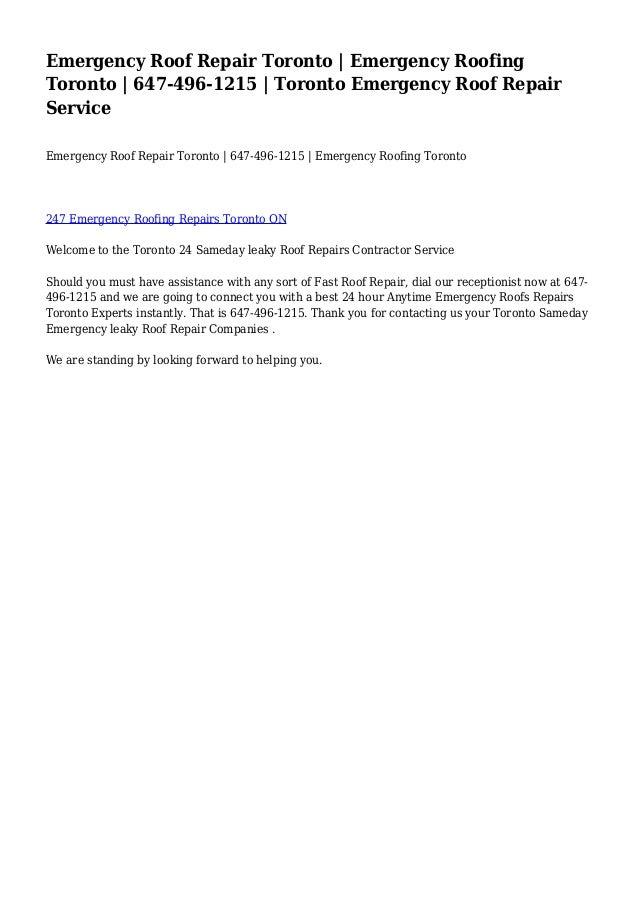 Emergency Roof Repair Toronto | Emergency Roofing Toronto | 647-496-1215 | Toronto Emergency Roof Repair Service Emergency...