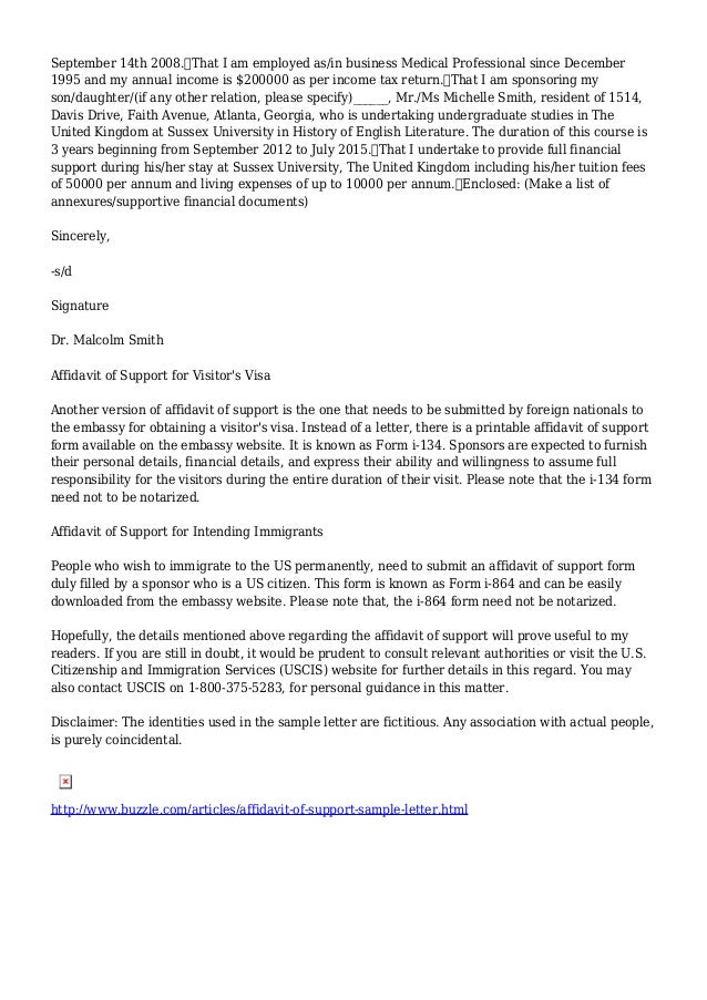 affidavit of support letter for visitor visa affidavit of support sample 27882