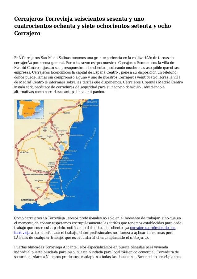 Cerrajeros Torrevieja seiscientos sesenta y uno cuatrocientos ochenta y siete ochocientos setenta y ocho Cerrajero EnCer...