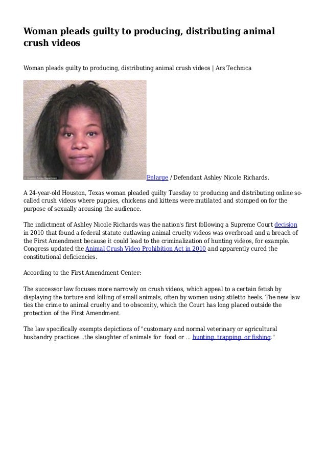 Image of: Outdoor Slideshare Woman Pleads Guilty To Producing Distributing Animal Crush Videos