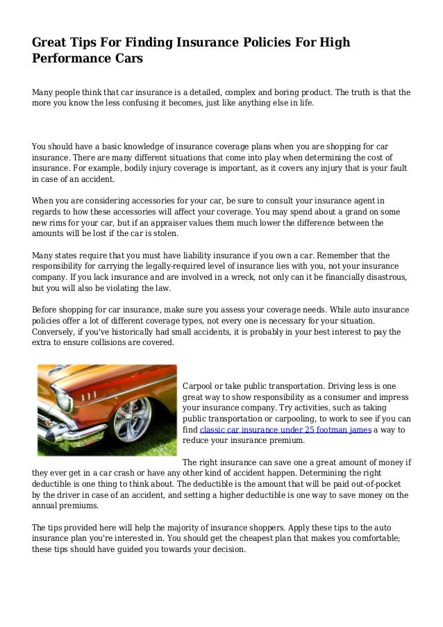 Great Tips For Finding Insurance Policies For High Performance Cars - Car show insurance coverage