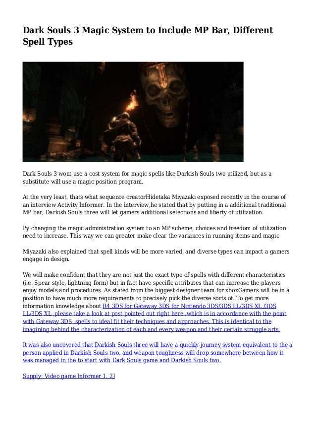 Dark Souls 3 Magic System to Include MP Bar, Different Spell Types