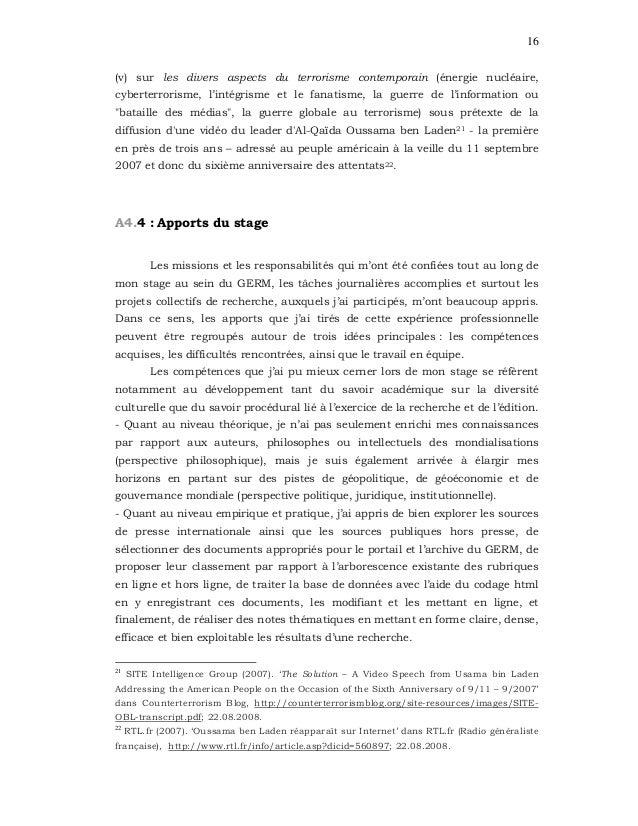 16 (v) sur les divers aspects du terrorisme contemporain (énergie nucléaire, cyberterrorisme, l'intégrisme et le fanatisme...