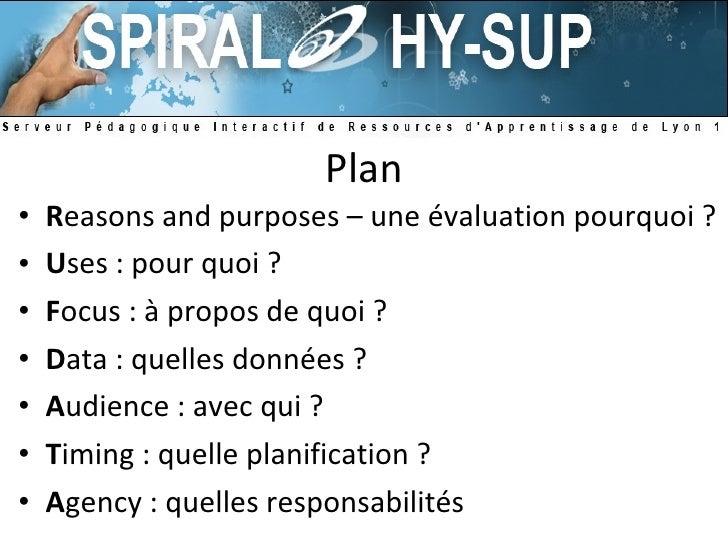 Plan <ul><li>R easons and purposes – une évaluation pourquoi ? </li></ul><ul><li>U ses : pour quoi ? </li></ul><ul><li>F o...