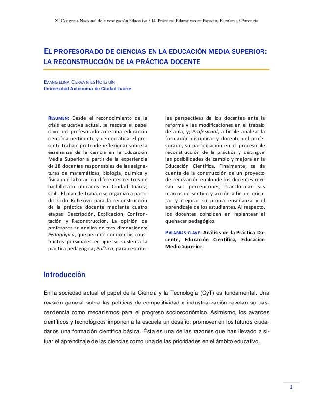 XI Congreso Nacional de Investigación Educativa / 14. Prácticas Educativas en Espacios Escolares / Ponencia  1 EL PROFES...