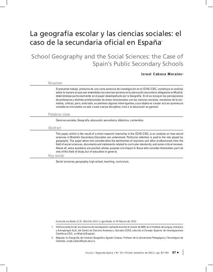 La geografía escolar y las ciencias sociales: elcaso de la secundaria oficial en España                                   ...