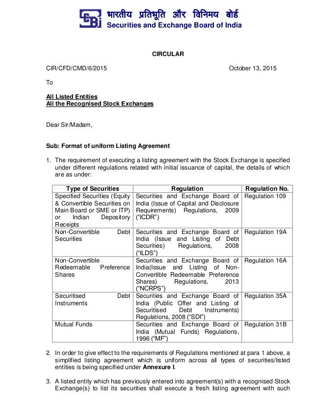 Format For Uniform Listing Agreement