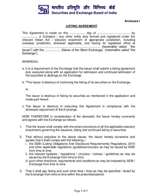 Format For Uniform Listing Agreement