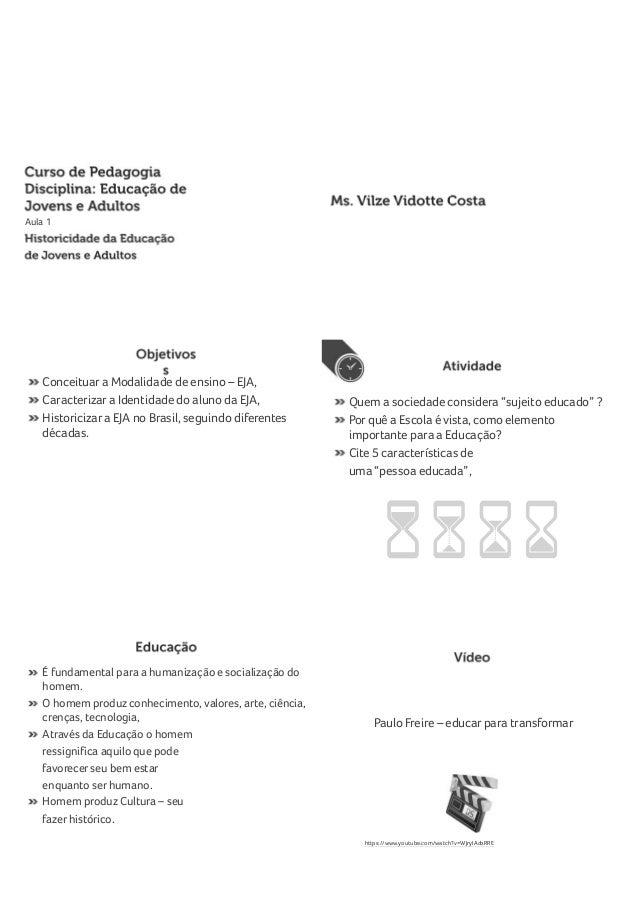 Aula 1 Conceituar a Modalidade de ensino – EJA, Caracterizar a Identidade do aluno da EJA, Historicizar a EJA no Brasil, s...