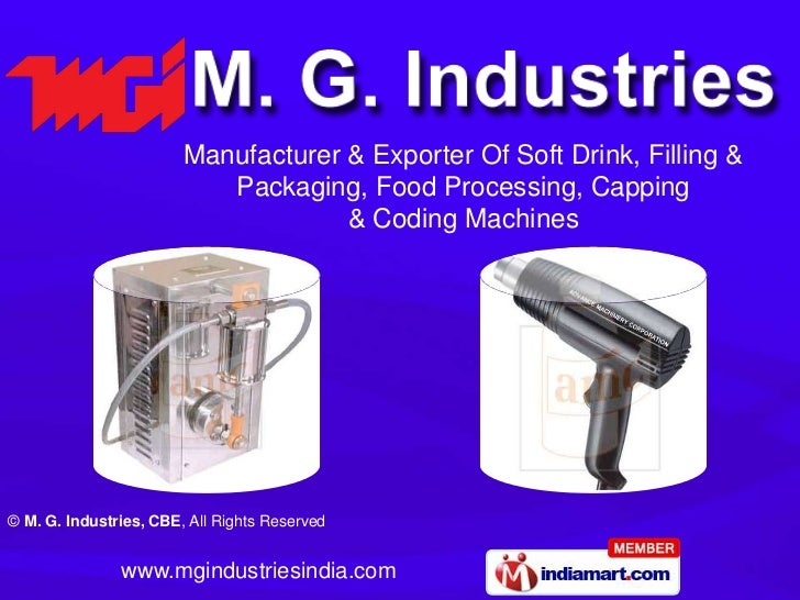 Manufacturer & Exporter Of Soft Drink, Filling &                           Packaging, Food Processing, Capping            ...