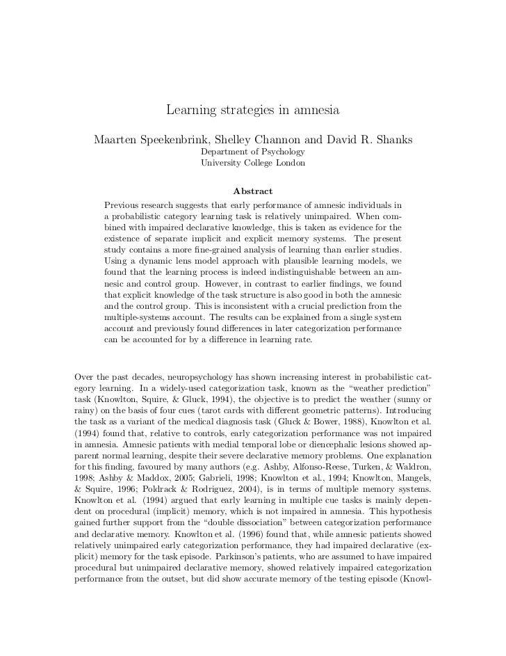 Learning strategies in amnesia    Maarten Speekenbrink, Shelley Channon and David R. Shanks                               ...