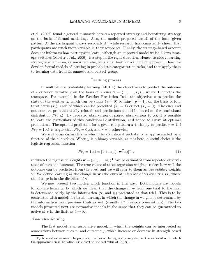 LEARNING STRATEGIES IN AMNESIA                                                6et al. (2002) found a general mismatch betw...