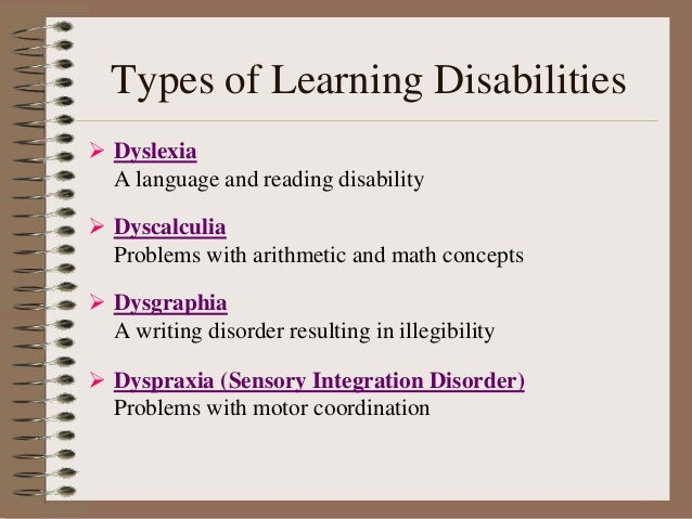 Types Of Learning Disabilities >> Learning Disability