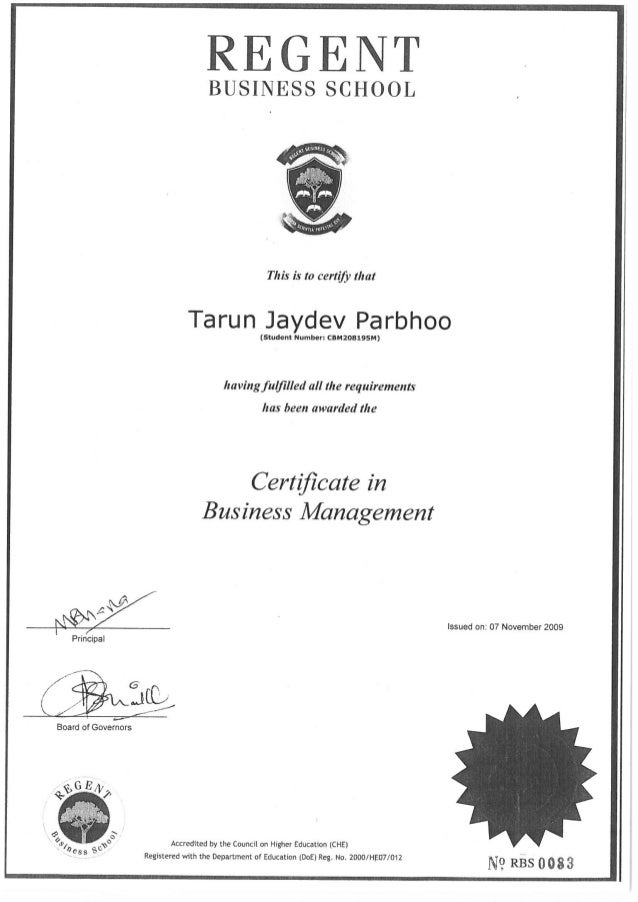 Regent Business Management Certificate
