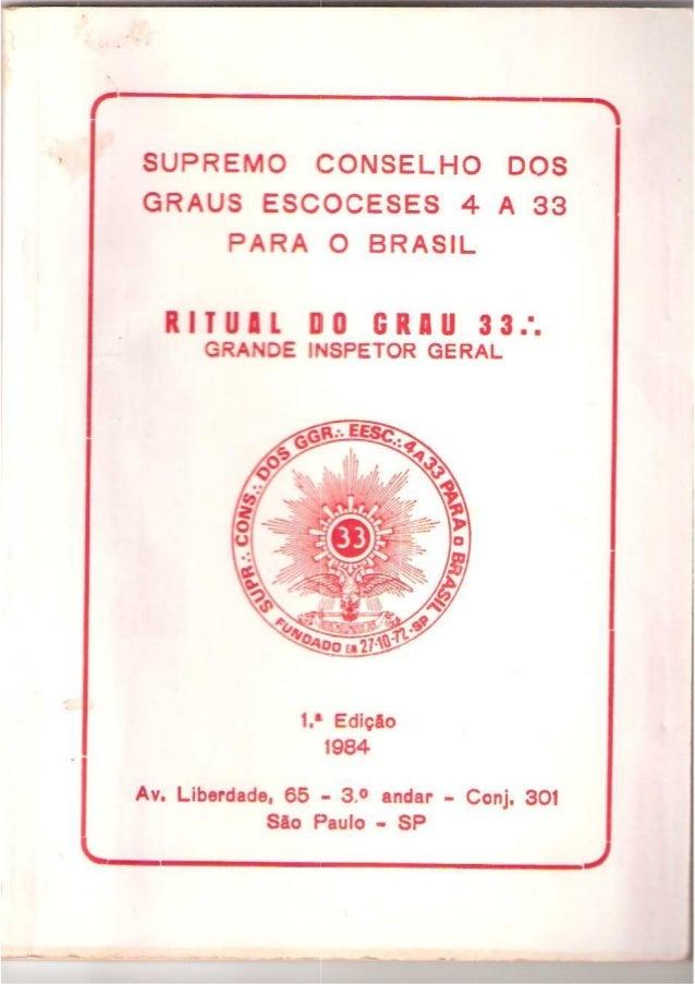 Ritual do grau 33 da Maçonaria (Grande inspetor geral)