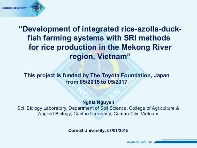 """""""Development of integrated rice-azolla-duck- fish farming systems with SRI methods for rice production in the Mekong River..."""