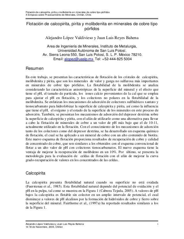 Flotación de calcopirita, pirita y molibdenita en minerales de cobre tipo pórfidos X Simposio sobre Procesamiento de Miner...