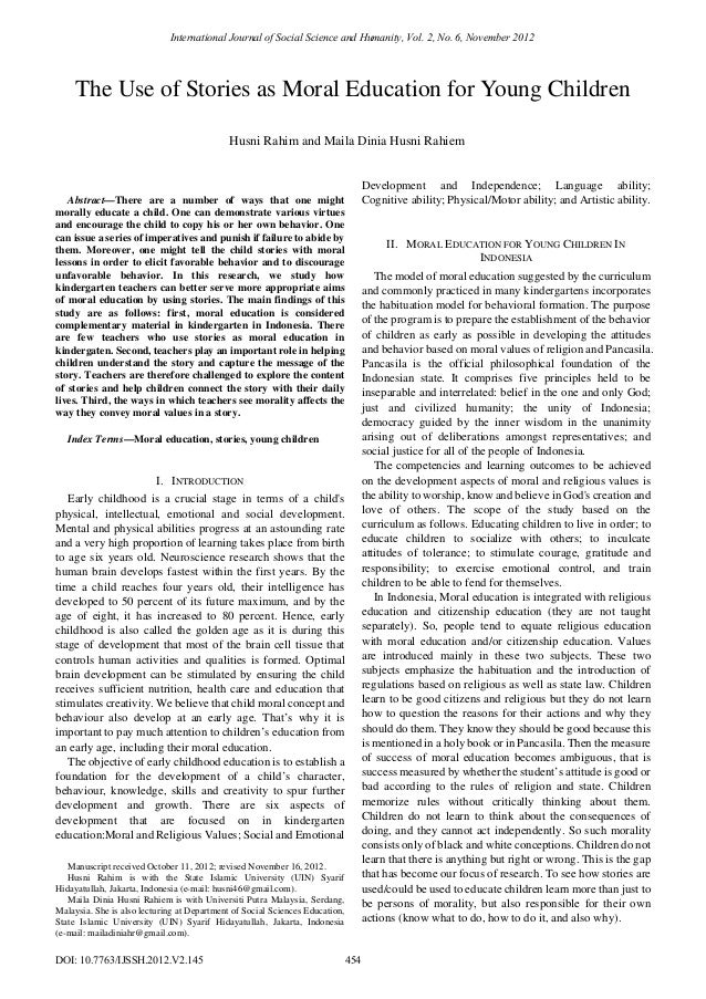International Journal of Social Science and Humanity, Vol. 2, No. 6, November 2012  The Use of Stories as Moral Education ...