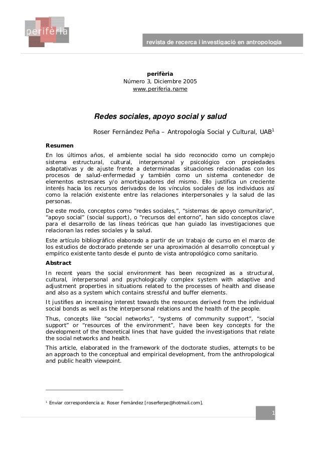 perifèria Número 3, Diciembre 2005 www.periferia.name 1 revista de recerca i investigació en antropologia 1 Redes sociales...