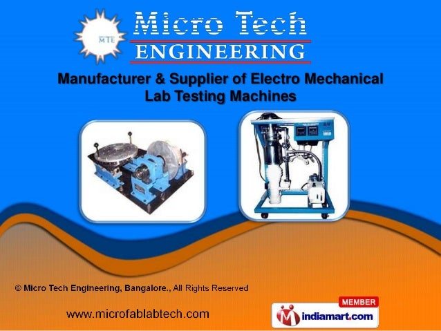Manufacturer & Supplier of Electro Mechanical           Lab Testing Machines