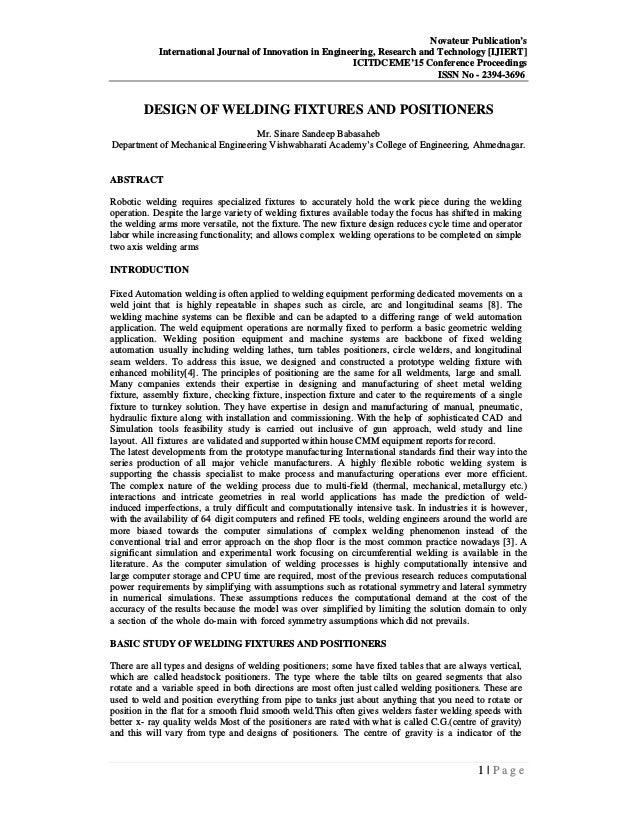 DESIGN OF WELDING FIXTURES AND POSITIONERS