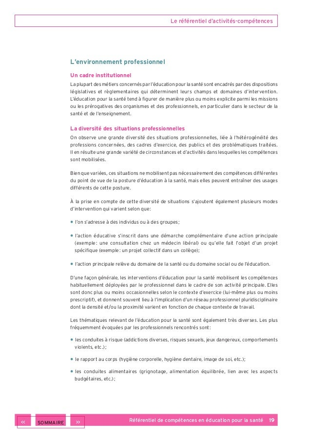 Referentiel De Competences En Education Pour La Sante 2013