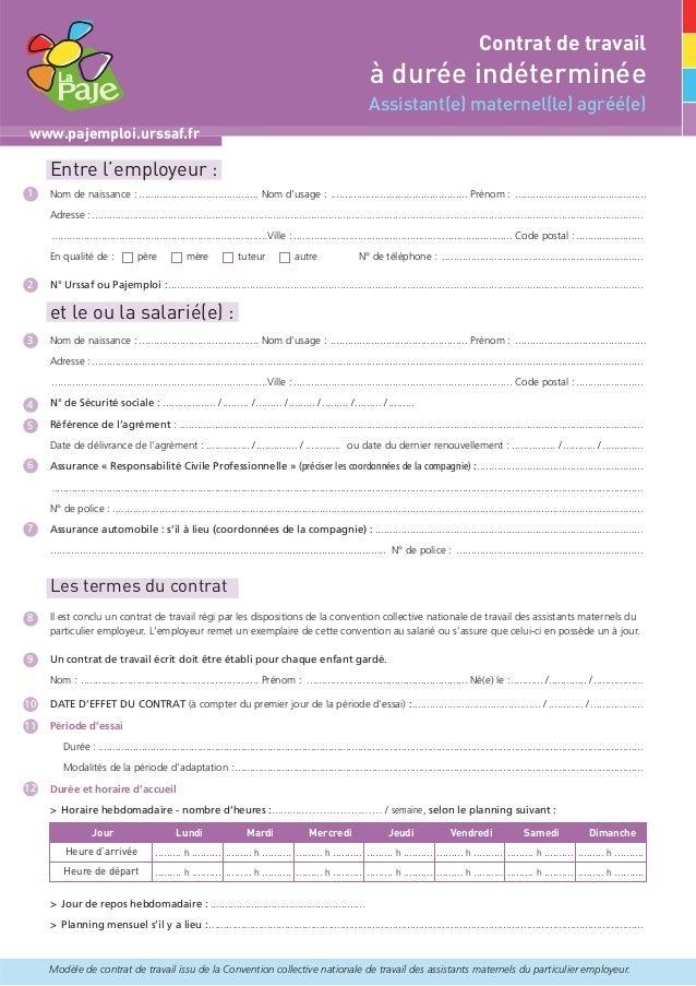 contrat de travail assmat