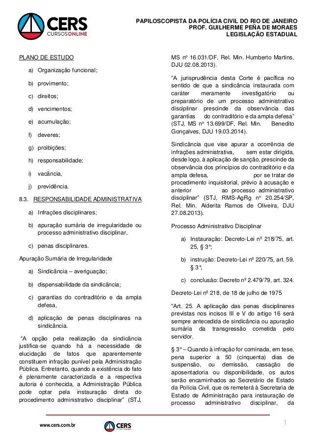 www.cers.com.br PAPILOSCOPISTA DA POLÍCIA CIVIL DO RIO DE JANEIRO PROF. GUILHERME PEÑA DE MORAES LEGISLAÇÃO ESTADUAL 1 PLA...