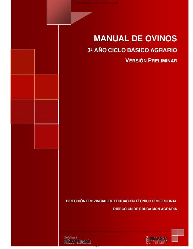1MANUAL DE OVINOS3º AÑO CICLO BÁSICO AGRARIOVERSIÓN PRELIMINARDIRECCIÓN PROVINCIAL DE EDUCACIÓN TÉCNICO PROFESIONALDIRECCI...