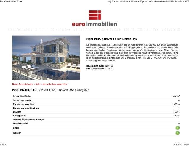 INSEL KRK - STEINVILLA MIT MEERBLICK Krk Immobilien, Insel Krk - Neue Steinvilla im mediterranen Stil. 218 m2 auf einem Gr...