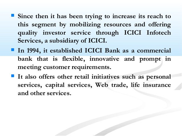 crm in icici 167 8 analysis this project wish to study the customer relationship management in icici bank and how this concept would help to maintain long term customer loyalty.