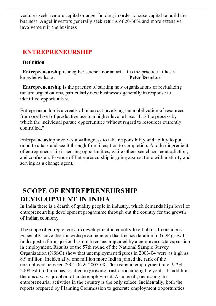 project report on rural entrepreneurship in india Ministry of skill development and entrepreneurship  the national skill development corporation india  self-employment and entrepreneurship programs.