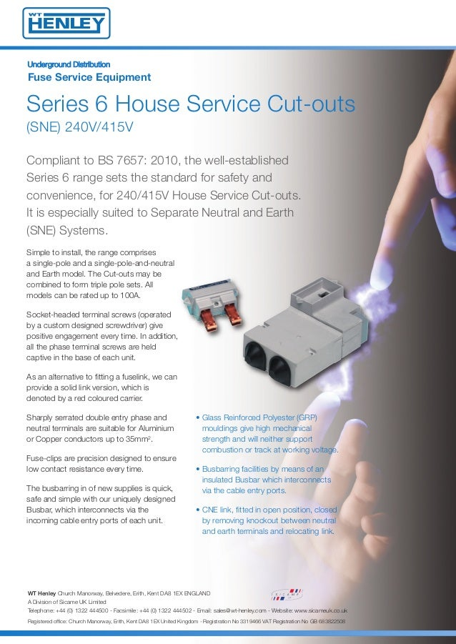 WT Henley 54141-03 House Service Cutouts - Series 6, 60/80Amp, Single…