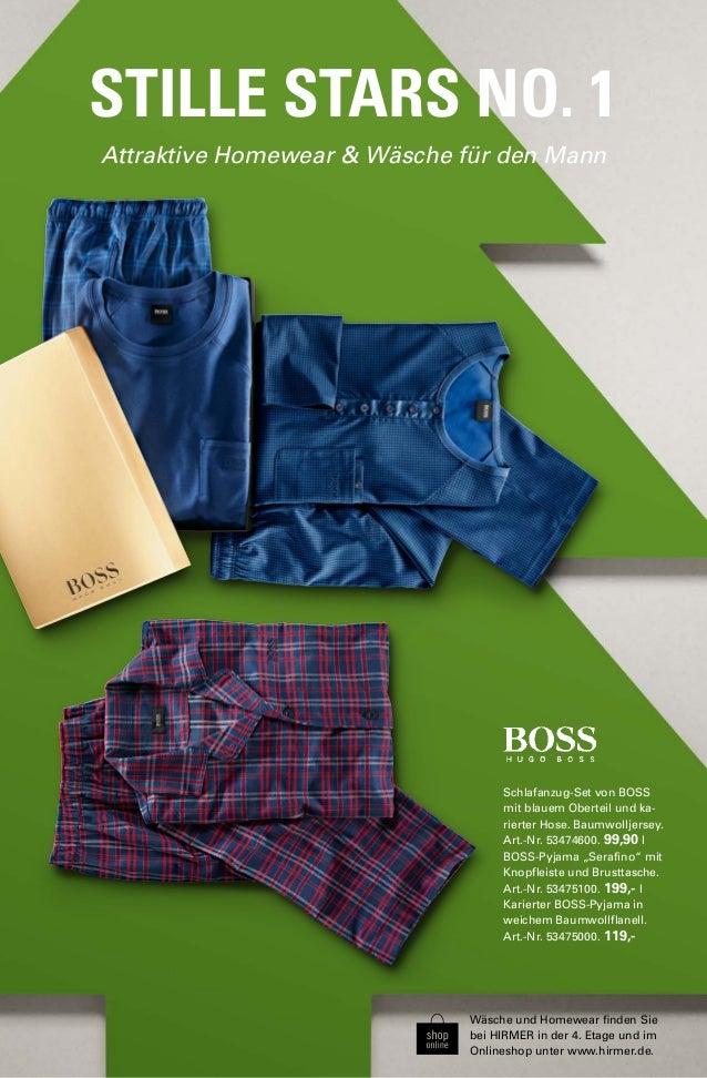 STILLE STARS NO. 1  Attraktive Homewear & Wäsche für den Mann  Schlafanzug-Set von BOSS  mit blauem Oberteil und ka-rierte...