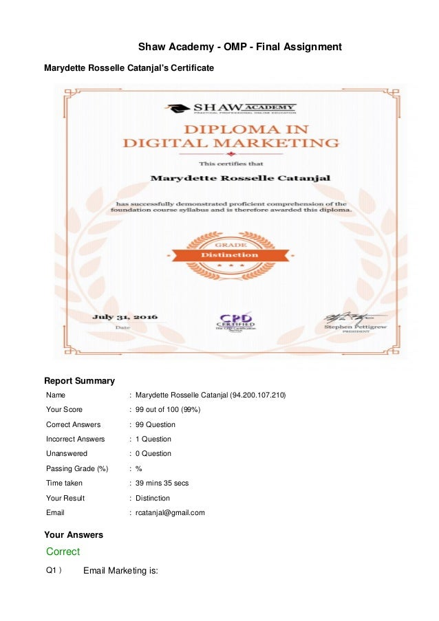 diploma in digital marketing shaw academy shaw academy omp final assignment marydette rosselle catanjal s certificate report summary marydette