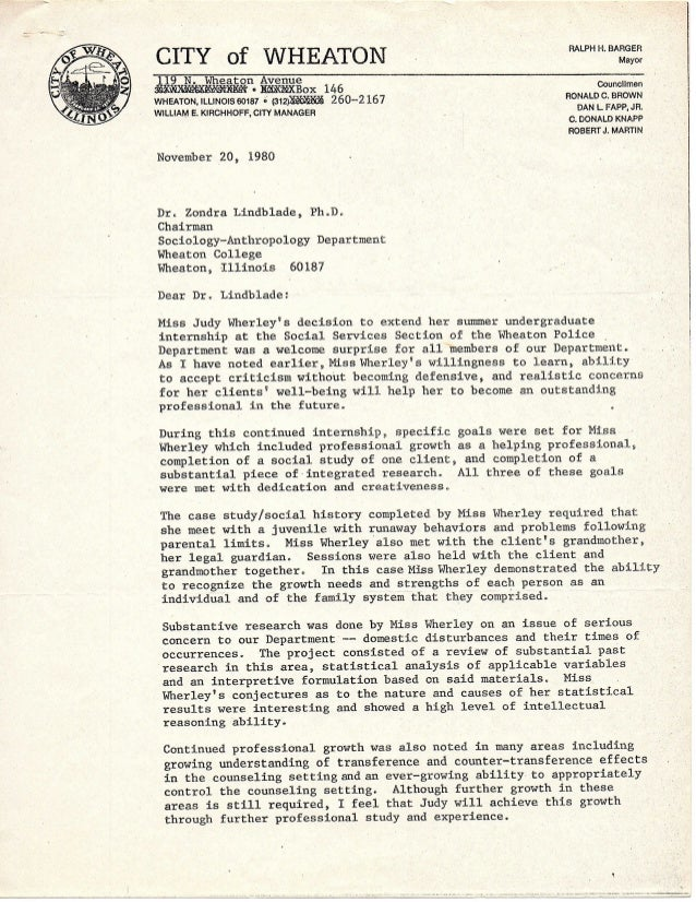 City of Wheaton letter 2