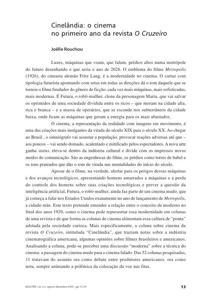 Cinelândia: o cinema                     no primeiro ano da revista O Cruzeiro                      Joëlle Rouchou        ...