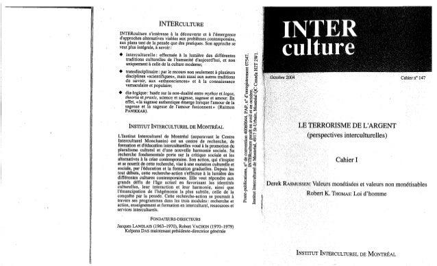 147  le terrorisme de l'argent, cahier ii. d. rasmussen, r. k. thomas, r. vachon, k. das. (document à télécharger en fo...