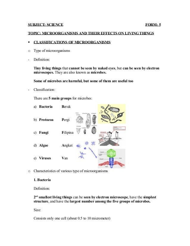 SUBJECT: SCIENCE                                                            FORM: 5TOPIC: MICROORGANISMS AND THEIR EFFECTS...