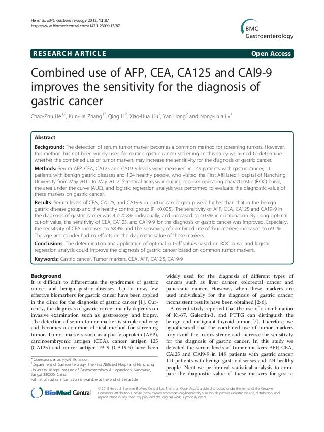 RESEARCH ARTICLE Open AccessCombined use of AFP, CEA, CA125 and CAl9-9improves the sensitivity for the diagnosis ofgastric...