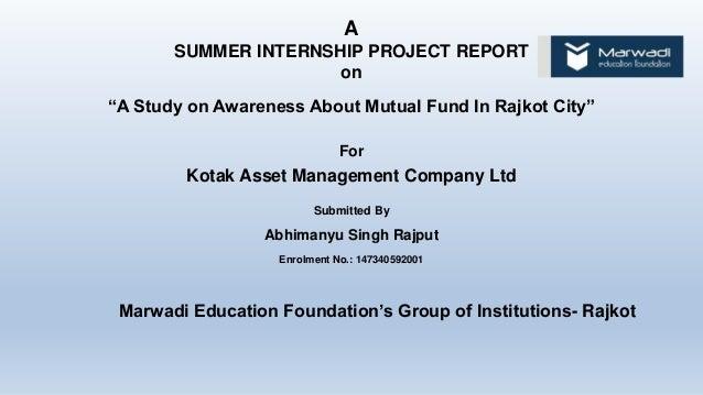 Internship Report on Analysis of Mutual Fund Industry: UTI