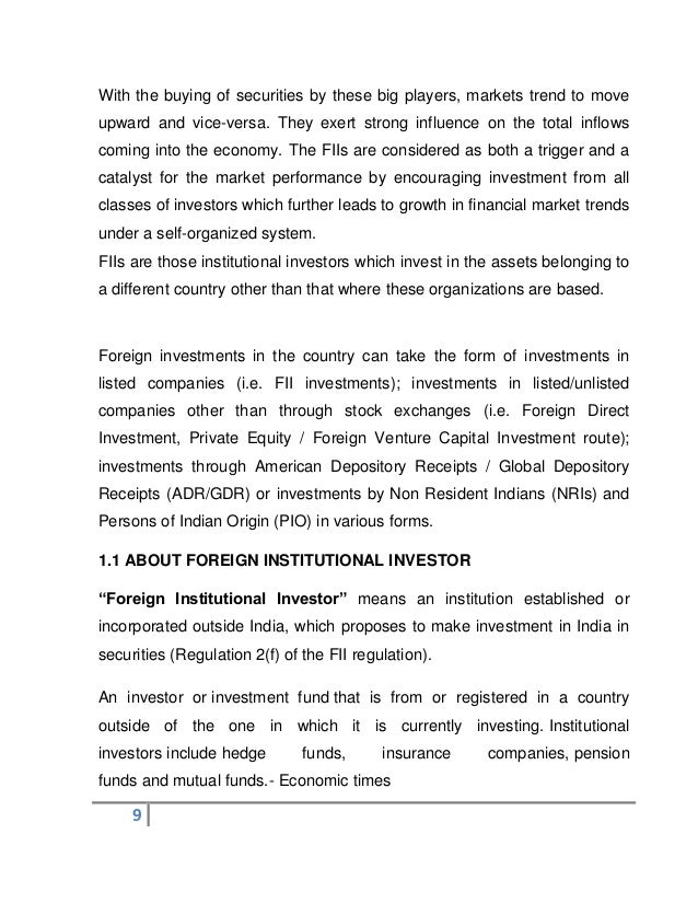 impact of fii on share market Impact of fii on share market essay impact of fii on capital market (an empirical study on indian capital markets ) a research project on submitted to: yamini karmarkar (hod mms-5yrs, iips) verma sem submitted by: purnendra im-98-047 mms-7th preface this project, in a way, reveals the dependence of indian capital markets on the fiis investment.