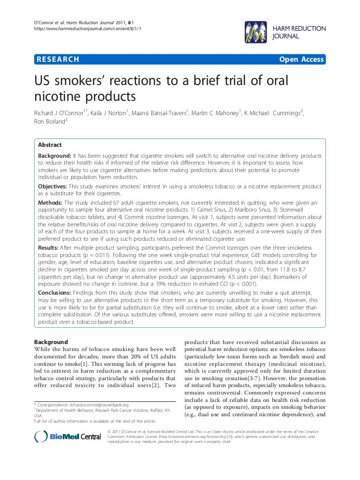 O'Connor et al. Harm Reduction Journal 2011, 8:1http://www.harmreductionjournal.com/content/8/1/1 RESEARCH                ...