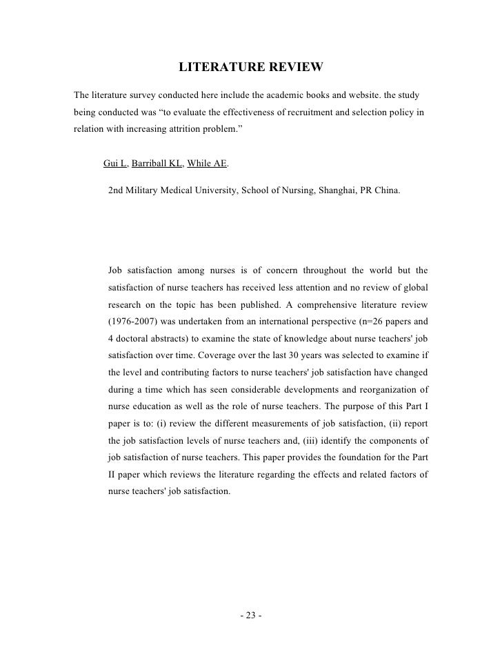Research paper on job satisfaction among teachers