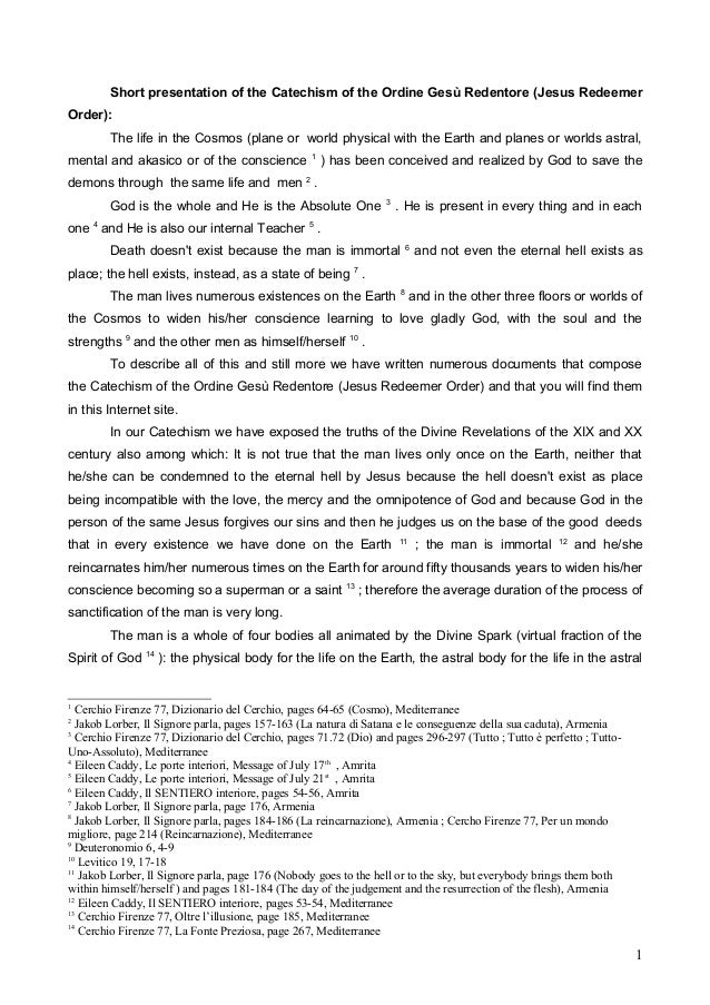 Short presentation of the Catechism of the Ordine Gesù Redentore (Jesus Redeemer Order): The life in the Cosmos (plane or ...