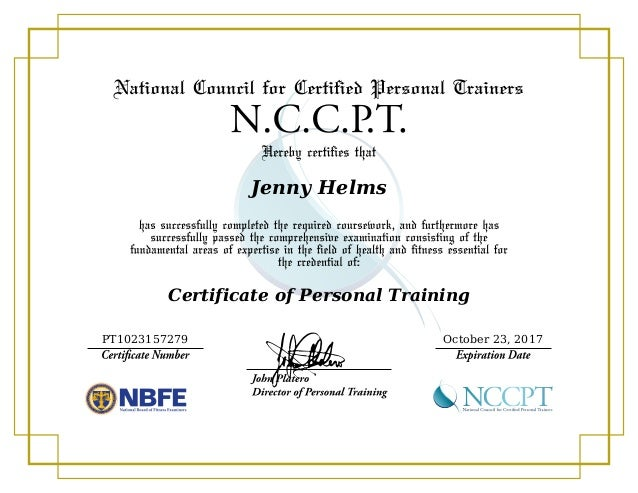 Jenny Helms Certificate of Personal Training PT1023157279 October 23, 2017